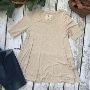 Cupio Tan Long Neutral Tunic Shirt